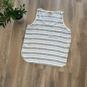 LOFT White and Blue Pattern Sleeveless Blouse